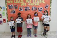 Parkside Elementary School in Lawrenceville has named its Students of the Month for September of the 2021-22 school year. Pictured, from left, are: Jase Brown, kindergarten; Roland Padgett, first grade; Kallie Childress, second grade; Jaylyn Thurman, fourth grade; and Alliah Harris, fifth grade. Emmitt Bearden, third grade, is not pictured. The students were presented with a certificate, a pencil and candy.