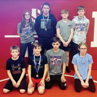 Eight wrestlers from Lawrence County recently participated in the Illinois AAU State Finals in Danville this past weekend, with seven of the eight placing among the top-six in their respective weight classes. Pictured are: (front L-R) Dayton Ledbetter, Drew Seitzinger (2nd), Cale Seitzinger (6th) and Delaney Ledbetter (5th). In back are: (L-R) Shaina Hyre (4th), Dylan Camden (2nd), Dylan Aten (6th) and Marcus Hyre (6th). Contributed photo