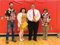 The Lawrenceville Elks Lodge #1208 presented $500 scholarships to Madi Fulk and Mason Parrott. Pictured, from left, are: presenter Ryan Seed, Fulk, Parrott and presenter Dee Jennings.