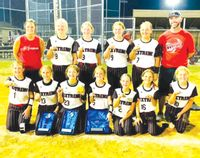 Extreme 10-under travel softball, based in Flat Rock, won the championship at the USSSA Great Lakes Nationals in Evansville last week. Team members include: (front L-R) Annie Fisher (Sumner), Brooke Kintner (Oblong), Jaclyn Miller (Vincennes), Cameron Sanders (Lawrenceville), Olivia Lewis (Vincennes), Braelyn Gladish (Vincennes) and Klaira Strohm (Robinson). In back are: (L-R) coach Nichole Dunlap, Lexie Ghast (Newton), Makenna Hill (Sumner), Paige Wagner (Newton), Tensley Dunlap (Flat Rock) and coach Eric Gladish. Contributed photo