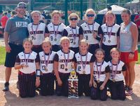 Extreme 10U travel softball, based in Flat Rock, won the annual Robinson Firecracker Tournament over Fourth of July weekend with a perfect 5-0 record, while outscoring their opponents by a combined score of 60-2. Team members include: (front L-R) Annie Fisher (Sumner), Brooke Kintner (Oblong), Klaira Strohm (Robinson), Olivia Lewis (Vincennes), Braelyn Gladish (Vincennes) and Cameron Sanders (Lawrenceville). In back are: (L-R) coach Eric Gladish, Paige Wagner (Newton), Tensley Dunlap (Flat Rock), Jaclyn Miller (Vincennes), Lexie Ghast (Newton), MaKenna Hill (Bridgeport) and coach Nichole Dunlap. Contributed photo