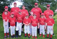 Members of the Steffey Funeral Home 8-under Lawrenceville Little League team that were present when the photo was taken include: (front L-R) Ronya Clark, Garrett Dennison, Ryan Vondra, Liam Shipley, Sawyer Shick, River Foreman and Brantley Wise. In back are: (L-R) Avery Tiller, coach Matt Shick, coach Whisper Shick, Brice Butcher, coach Mike Dennison and coach Robb Shipley. Contributed photo