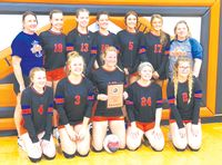 Hutsonville-Palestine's volleyball team won the Little Okaw Valley Conference Tournament Saturday in Hutsonville. The Lady Tigers went 4-0 in the five-team, round-robin event, winning all of their matches in straight sets. Contributed photo