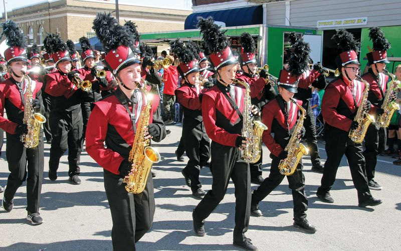 The Nuttall Middle School Band performs in the 2019 Heath Harvest Festival parade. Daily News photo